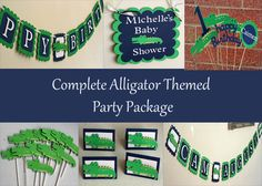 Green and Blue Alligator Complete Birthday Party by AngiesDesignz, $105.00