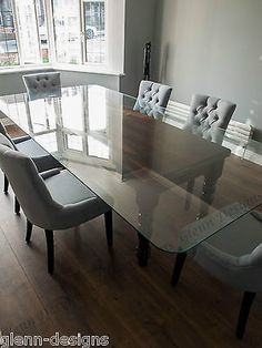 8,10,12 seater 'CLEARLY GLASS' dining table.Farm house base. 2 part leg. stained