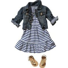 One of a few things the boys can hand down to Viviana, love the denim jacket with the dress!
