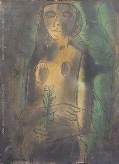 """Vicente Martín  """"Desnudo y flor"""" Acrílico sobre cartón  49 x 30 cm. Año 1968 Firmado y fechado abajo a la izquierda  http://www.portondesanpedro.com/ver-producto.php?id=13023"""