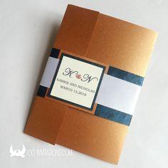 Stylish Brown Pocketfold Wedding Invitations In Pearl Paper