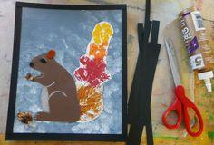 Eichhörnchen Bild aus Papier und Blätter Abdrücken