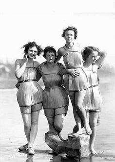 """1929 The """"Spruce Girls"""" show off their spruce wood veneer bathing suits during """"Wood Week"""" to promote products of the Gray Harbor lumber industry in Hoquiam, Washington.  Yes, their bathing suits are made of wood."""