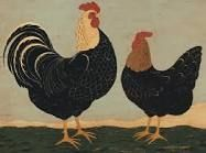 Warren Kimble ~ Double Roosters ~ American Folk Art