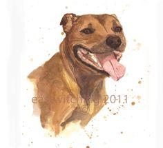 WATERCOLOR STAFFORDSHIRE DOG Print, Staffy, dog lover gift, 8x10 print, dog…