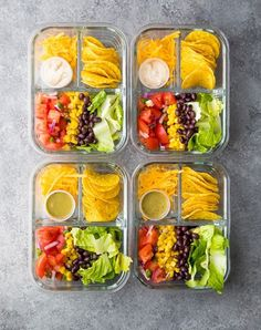 No Cook Taco Salad Bento Box. This no cook taco salad bento box is ready for your lunch in under 25 minutes! A great vegetarian meal prep lunch. Lunch Meal Prep, Healthy Meal Prep, Healthy Recipes, Keto Recipes, Vegetarian Recipes, Salad Recipes, Vegetarian Lunch Ideas For Work, Easy Work Lunch Ideas, No Cook Recipes