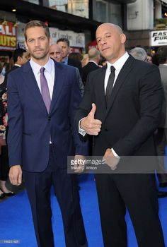 Actors Paul Walker and Vin Diesel attend the 'Fast & Furious 6' World Premiere at The Empire, Leicester Square in London, England (on May 7, 2013)