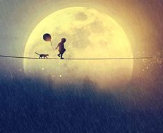 girl on tightrope with moon and balloon