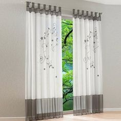 Sousrts Polyester Country Style Flower Drop Window Curtains Treatment Grey 140cmx245cm