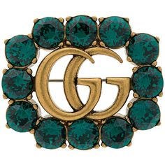 Gucci GG Marmont brooch (3 700 ZAR) ❤ liked on Polyvore featuring jewelry, brooches, green, gucci jewellery, gucci, gucci jewelry, gucci brooch and green jewelry