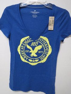 NWT American Eagle Outfitters Blue V-Neck Graphic T-Shirt Size S Small New  AEO #AmericanEagleOutfitters #GraphicTee