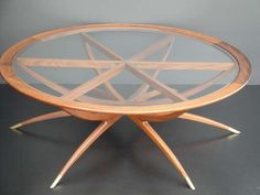 Mid Century Spider Leg Teak Coffee Table with Clear Glass Top 4