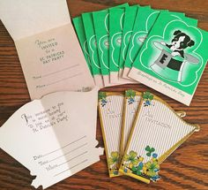 12 MINT Vintage St. Patrick's Day Invitations with Boston Terrier Dogs & Harps!