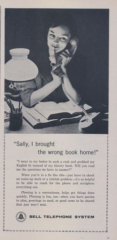 1962 Bell Telephone System Ad Girl Doing Homework by AdVintageCom