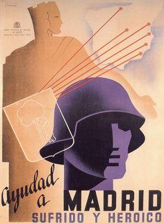 By Cabana, 1937, Ayudad a Madrid sufrido y heroico, Republican poster Spanish Civil War. (Spain)