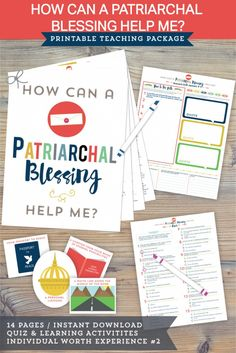 """How can a patriarchal blessing help me?""  This young women lesson is awesome.  There is a quiz about patriarchal blessings, a sheet to fulfill ""individual worth experience #3"", some AMAZING quotes, and even more."