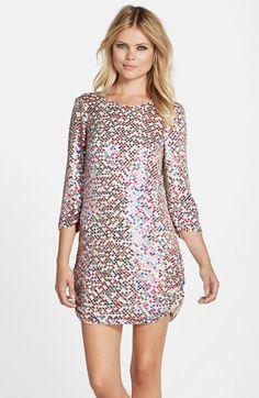 Parker Black 'Petra' Multicolor Sequin Shirred Side Shift Dress available at #Nordstrom