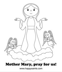 happy saints mother mary coloring page