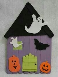 popsicle stick haunted house halloween crafts for kidsholidays halloweenholiday craftshalloween ideaskids