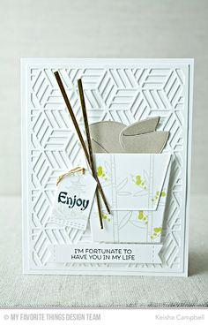 Card by Keisha Campbell  (030717)  [My Favorite Things (dies) Die-namics Chinese Takeout, Star Grid Cover-Up, Stitched Sentiments Strips, Stitched Tiny Tags; (stamps) Distressed Patterns, Good Fortune, Sushi Date]