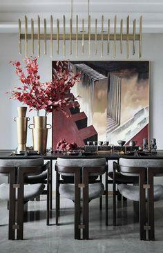首发   万科·澜岸样板间:至臻艺术,极致呈现! - 马蹄室内设计网 Dining Room Bar, Dining Decor, Dining Table Chairs, Center Table, Living Room Interior, Furniture Design, Design Inspiration, House Design, Table Decorations