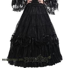 Lillian satin long skirt www.attitudeholland.nl #gothic #sinister #lace #bows