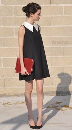 PREPPY[summer]: black dress with white collar; dark red clutch