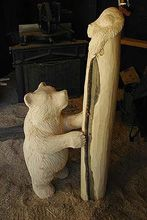 "Stairmeister's carved wood ""bear & squirrel"" newel post..."