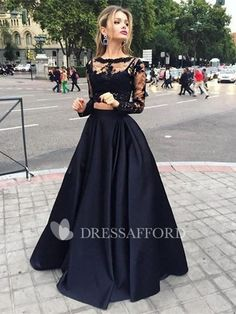 Two Piece Black A Line Lace Top Long Sleeves Formal Prom Dress Prom Dresses Black, Prom Dresses, Prom Dresses Two Piece, Prom Dresses Lace, Long Sleeves Prom Dresses Prom Dresses Long Prom Dresses Two Piece, Black Prom Dresses, A Line Prom Dresses, Dresses For Teens, Modest Dresses, Trendy Dresses, Dress Prom, Formal Dresses, Dress Black