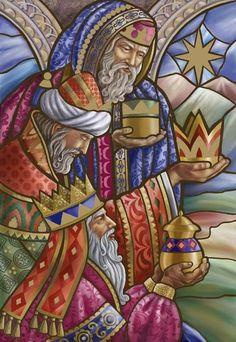 "Re Magi ""Three Wise Men in Stain Glass"" - Irina Y. Christmas Nativity, Christmas Art, Vintage Christmas, Catholic Art, Religious Art, We Three Kings, Three Wise Men, O Holy Night, Christmas Paintings"
