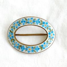 Vintage Enamel Brooch, Forget-Me-Not Flowers, Blue and White Sash Pin, Forget-Me-Not Jewelry
