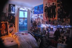 """""""My current bedroom aged from Crystalcoma. Confession: I did not care about Blink 182 as a teenager but I love them now. Theyre like the number one band I hope comes on the radio when Im driving with the windows down slurping on a fountain soda. Room Ideas Bedroom, Bedroom Decor, Bedroom Night, Bedding Decor, Decor Pillows, Bedroom Inspo, Punk Room, Punk Rock Bedroom, Decor Room"""