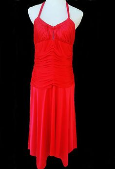 SOLD Caché Gown   Red ~ Perfect for the Holidays  Empire Waist  Modesty Padded Top Ruched Bodice with Halter Ties size 12 Red  Fully Lined