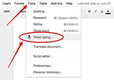 Google Docs New Tool: Voice Typing.  It offers many nice features.  Here is a list of voice commands:  https://support.google.com/docs/answer/4492226?hl=en