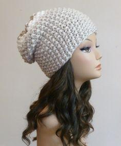 Women's Hand Knit Hat Slouch Beanie Slouchy Hat by BoPeepsBonnets, $28.00