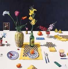 Paul Wonner 48 by 48 Dutch Still Life with Orange and Blue Napkins Folded and Unfolded http://c48743.r43.cf3.rackcdn.com/Images/2009_07/06/0145/521652/49898f24-d173-4726-aacd-fefbfc16bb62_g_570.Jpeg