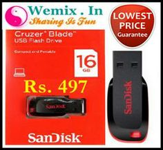 Sandisk Cruzer Blade 16Gb Pen Drive Rs. 497