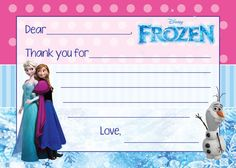 Frozen Thank You Card by LifeOnPurpose on Etsy