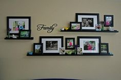 For the living room -- Family photo wall collage using frames and frame shelves from Ikea Frame Wall Collage, Frame Shelf, Collage Picture Frames, Frame Wall Decor, Photo Wall Collage, Rustic Wall Decor, Frames On Wall, Picture Wall, Collage Ideas