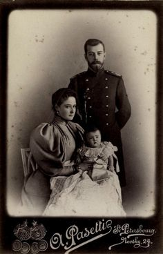 Tsar Nicholas II with consort, Tsaritsa Alexandra Fyodorovna, and their first born, Olga Nikolaevna