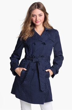 Add cherry red or lemon yellow rain boots= LOVE! London Fog Polka Dot Trench Coat available at Nordstrom