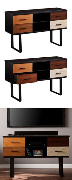 Boasting chicly colorblocked wood veneer drawer faces and sleek geometric legs, this Corinne Console offers a modern take on a familiar mid-century modern silhouette. This console comes equipped with t...  Find the Corinne Console, as seen in the The Dark Side of Mid-Century Collection at http://dotandbo.com/collections/the-dark-side-of-mid-century?utm_source=pinterest&utm_medium=organic&db_sku=116295
