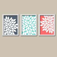 Navy Aqua Coral Bedroom Wall Art CANVAS or Prints Bathroom Wall Art Bedroom Pictures Flower Wall Art Pictures Flower Burst Dahlia Set of 3