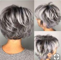 52 Ideas for hair color gray highlights pixie cuts Short Grey Hair color Cuts Gray Hair Highlights Ideas Pixie Remy Hair Wigs, Short Hair Wigs, Medium Hair Styles, Curly Hair Styles, Gray Hair Highlights, Lowlights For Gray Hair, Pixie Cut With Highlights, Mom Hairstyles, Short Gray Hairstyles