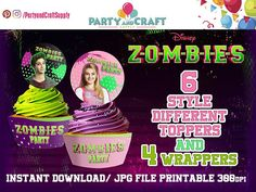 ////// Disney Zombies Awesome Cupcake Toppers and wrappers, Zombies Birthday Party Supplies, Cupcake, Cupcake Toppers, Zombies Party - JPG Digital File, INSTANT DOWNLOAD//////// ///// Files totally in HD .JPG to 300dpi. //////