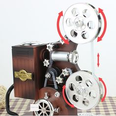 Vintage Movie Film Projector Music Box Creative Gifts Furnishings Ornaments Makeup Jewelry Boxes Christmas Present