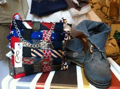Borsa realizzata utilizzando cravatte vintage.  Manico di catena argentata.  Handmade bag using vintage ties. Handle silver chain.  http://www.blomming.com/mm/SaraRaba/items/borsa-craf  #handmade #sartoriaartigianale #pezziunici #sartoriacreativa #borsaoriginale #borseuniche #artigianatotoscano #pelle #cuoio #decorazioniartigianali #accessoriartigianali #fashion #accessories #legnidimare #conchiglie #mare #borseestive #primaveraestate2013 #ties