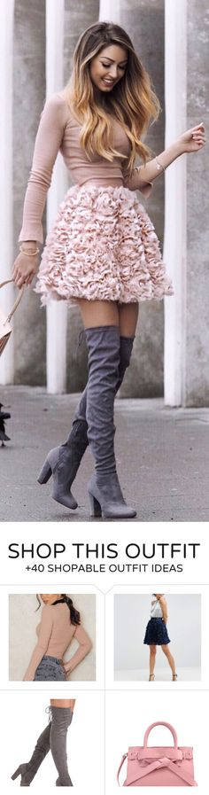 #spring #fashion / Tan Knit / Pink Flower Skirt / Dark OTK Boots / Light Pink Leather Tote Bag