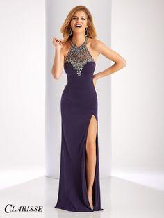 Clarisse Prom 3078 Smoke High Neckline Prom Dress