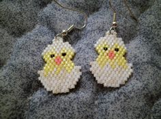 Easter Chick in a White and Cream Colored  Egg done  in the Peyote Stitch Dangle Earrings by JazminsJewels on Etsy